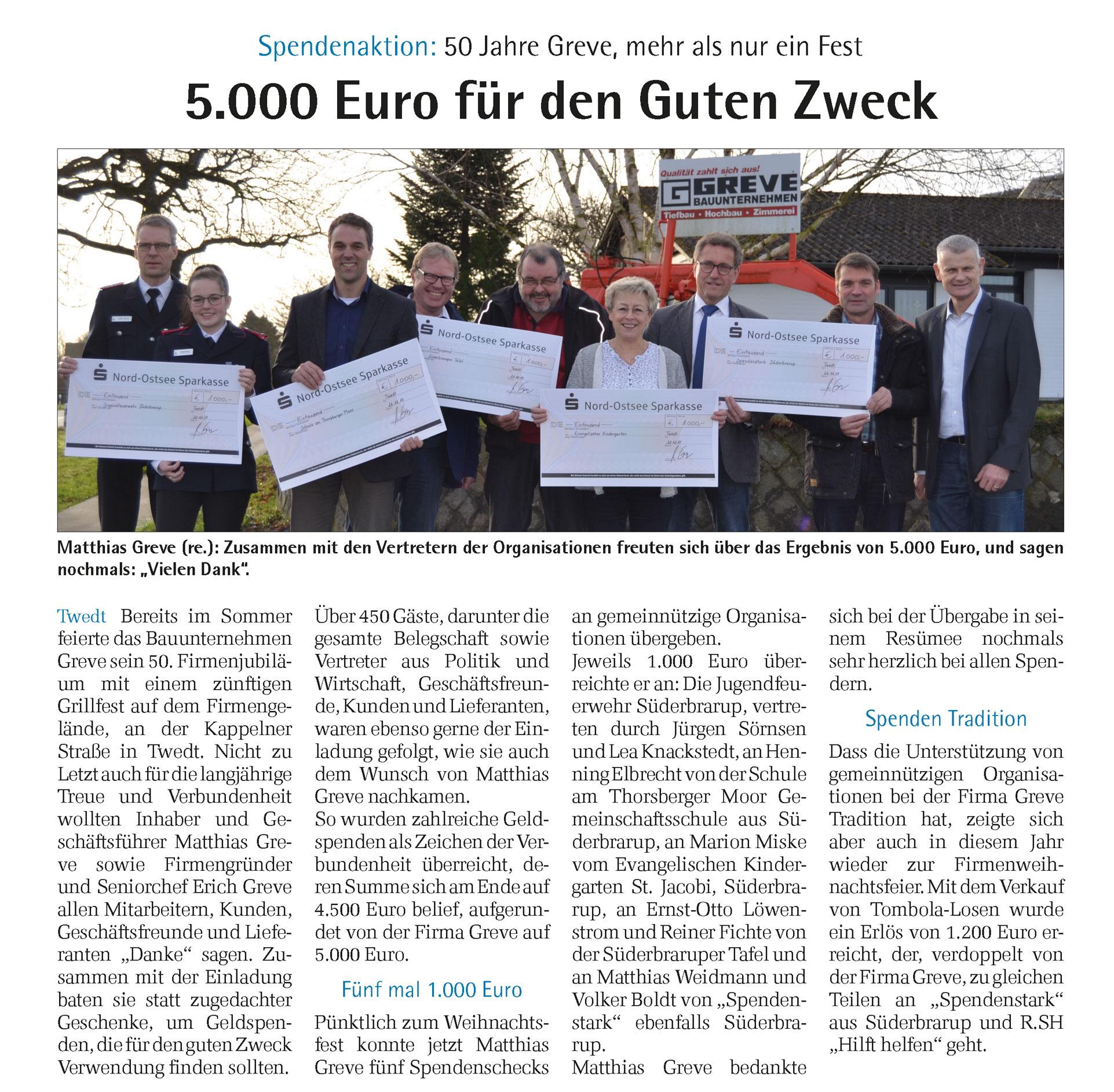"""""""Spendenaktion: 50 Jahre Greve, mehr als nur ein Fest"""""""